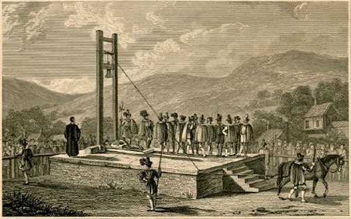 Old drawing of the Halifax Gibbet